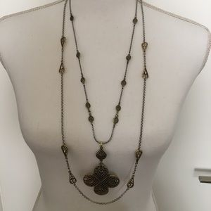 Lucky Brand Gold & Silver Double Strand Necklace